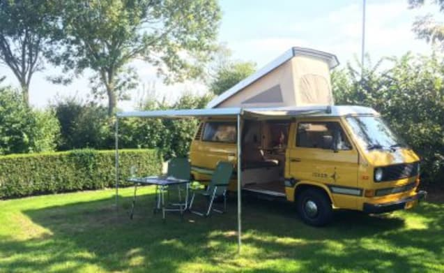 Rent Iness, our cool Volkswagen T3