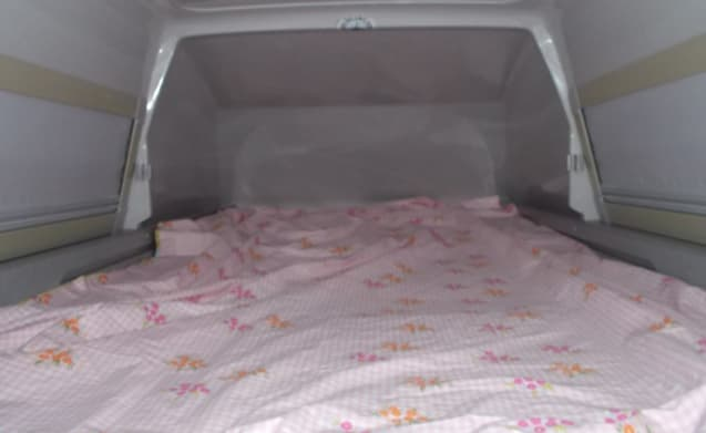 VW bus camper T4 Exclusive with awning, 4 person sleeping places & bicycle rack