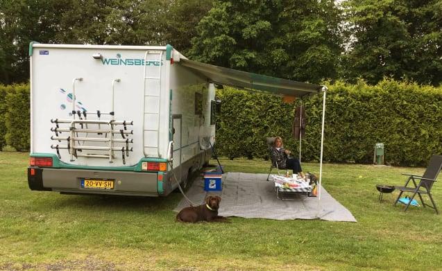 608 – Weinsberg ruime familiecamper met dwarsbed en hefbed! Bezorgen is mogelijk