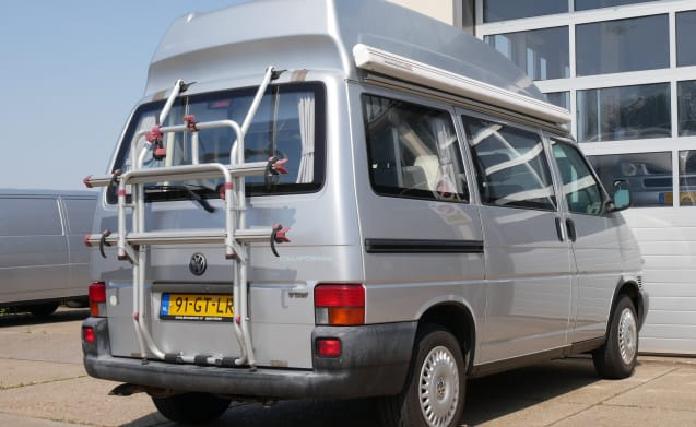 VW bus camper T4, sports roof with awning and 2 person sleeping place