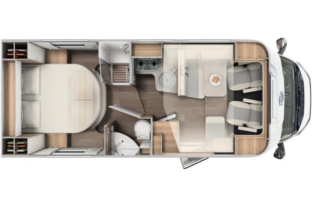 NIEUW! 2-pers Half-integraal Carado T339 2019, Queensbed