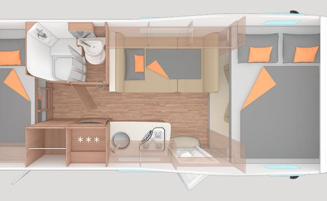 Young 6-person camper with powerful 150 hp engine