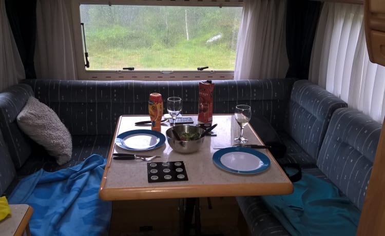 Beauty – Hymer 2-person camper, air conditioning, pull-down bed and round seat. Dog is allowed