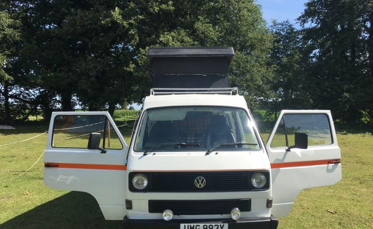 Klassieke vw t25 poptop campervan