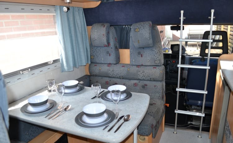 Spacious family motorhome Chausson Welcome for 6 people.