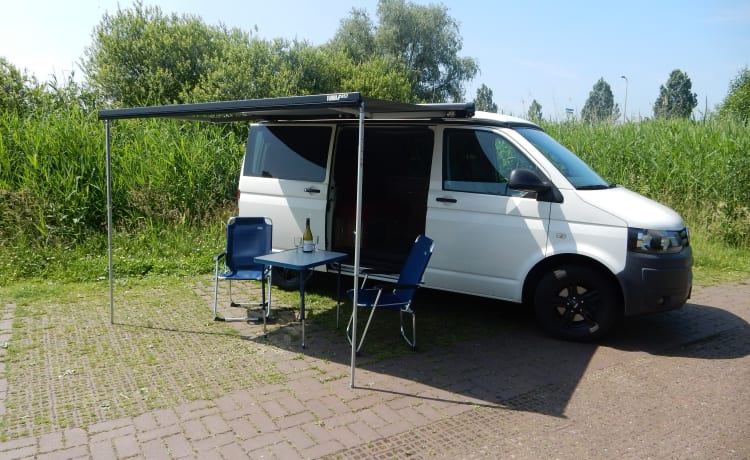 Compact double VW T5 camper van with extra wide bed ...