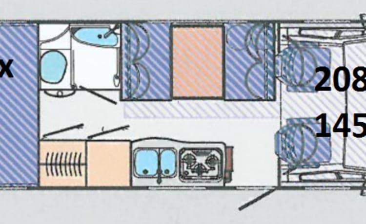 Alkoof 6P Garage voor de hele family: Hymer 644 Camp uit 2001