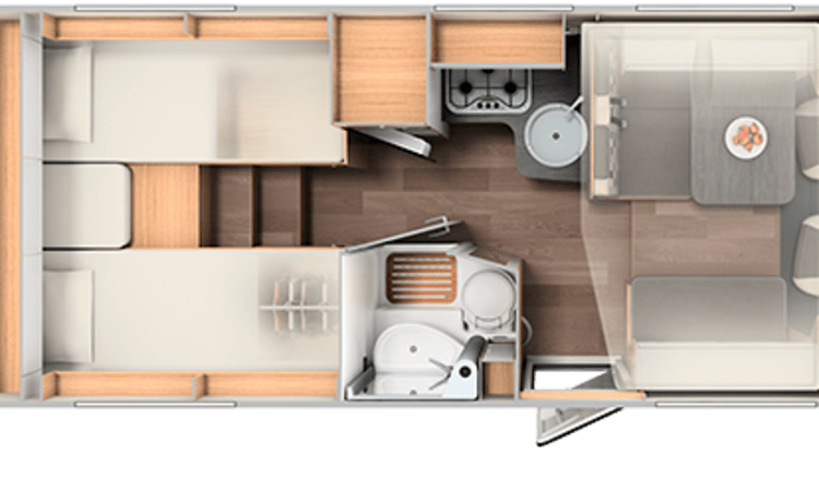 Comfort enkele bedden (46) – Spacious, luxurious and almost new 4-person camper with single beds and fold-down bed