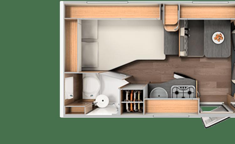 Compact Frans bed (41) – Compacte, luxe en bijna nieuwe tweepersoons camper met Frans bed