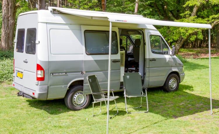 Bus camper Mercedes fresco con letto fisso a 2 posti