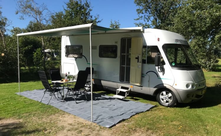 For Rent: our comfortably furnished Hymer 654 B with fixed French bed.