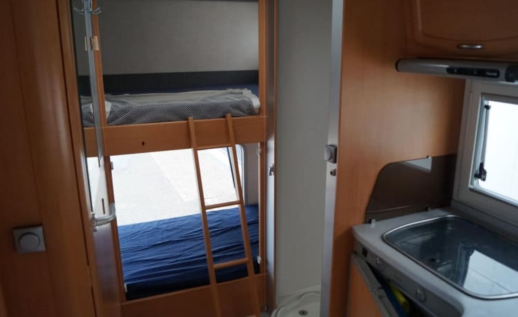 Very complete with bunk bed and fold-down bed