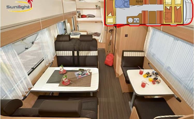 Sunlight A72 camper uit 2017 – Modern and spacious 5 pers Camper for rent