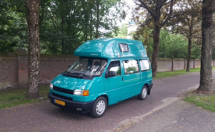 Summer -VW T4 California with fixed sleeping roof