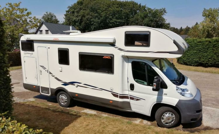A beautiful, spacious McLouis alcove camper with bicycle rack