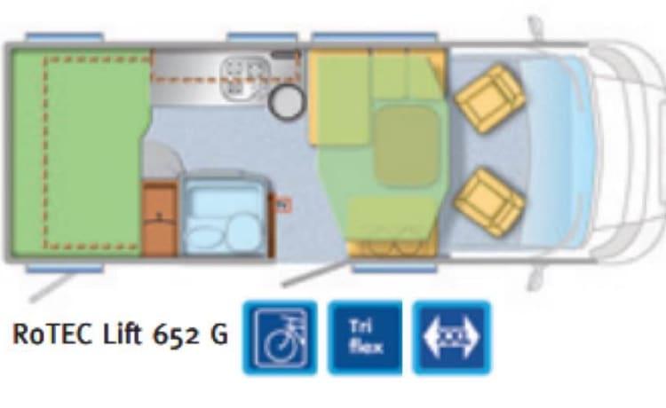 Ruime, comfortabele en luxe 2 tot 4 persoons camper.