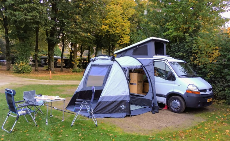 Attractive camper with beautiful wooden furnishings