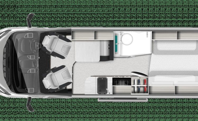 4 slaapplaatsen en 4 zitplaatsen met automatische versnellingsbak. Gemakkelijk te besturen V-Line 669s