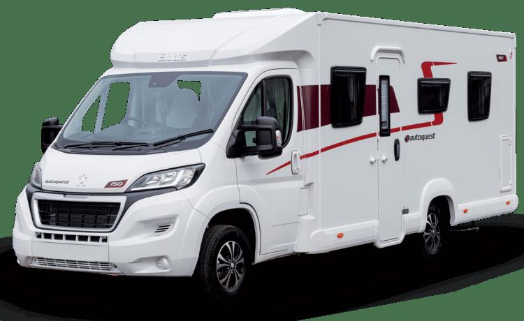Ted – Elddis Autoquest 150. 2021 Luxe camper voor 4 personen. Bekend als '' Ted ''.