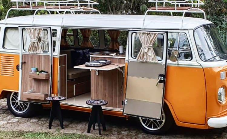 Happy Orange – Vintage VW T2 camper van