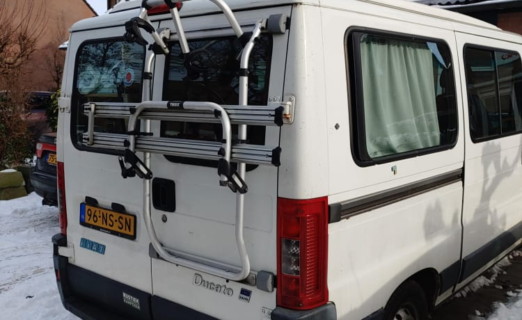 Fiat Ducato, with pop-top roof. Self-build interior