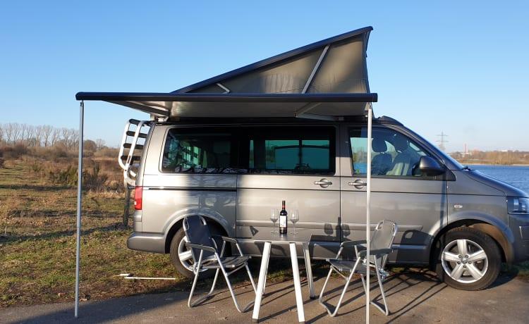 Volkswagen T5 California Buscamper met Slaaphefdak.