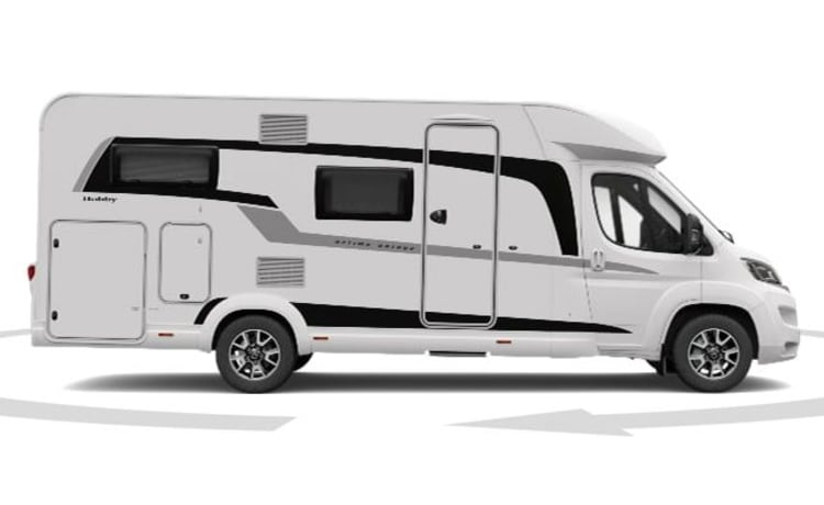 Hobby Ontour – Luxurious, beautiful new Hobby Optima Ontour T65 HFL, with French bed and pull-down bed
