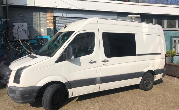 Tony – Converted VW Crafter + 2 person kayak + huge inflatable awning