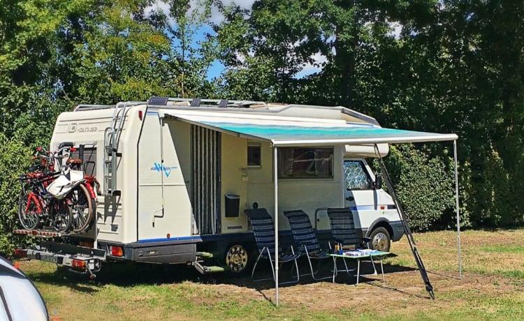 Space Ship Atlantis met Rijbewijs B 😃 – Spacious Camper up to 9 sleeping places + Motor / Bicycle Carrier