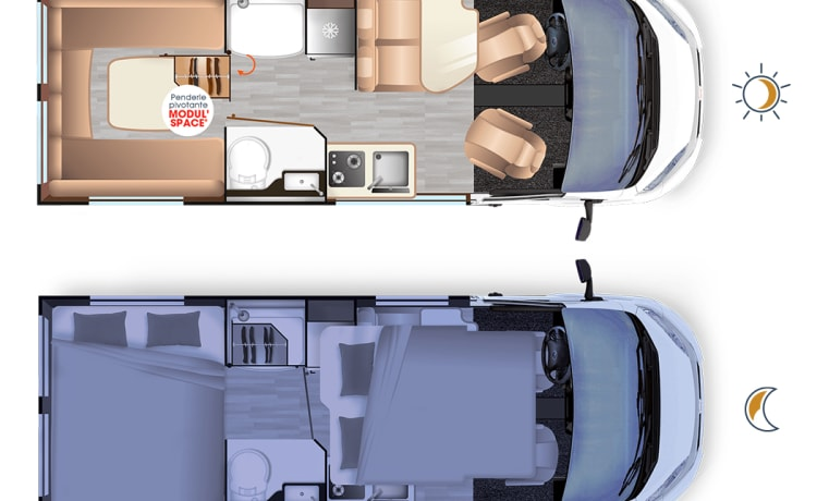 Brand new bus camper with a living room in the back