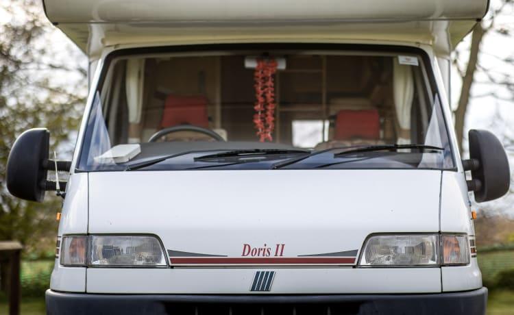 """Doris"" The Motorhome – Swift, 4 berth, overcab motorhome for hire"