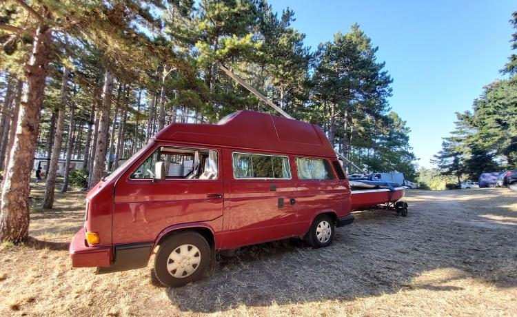Dolly – VW T3 Westfalia Hightop 4-persoons slaapplaats met tal van extra's
