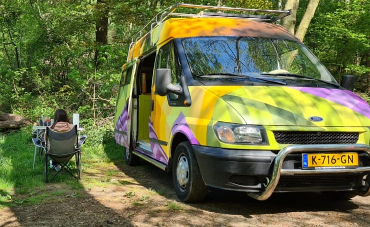 Unique, off-grid Ford Transit for two people