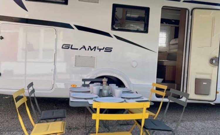 Ons Jeanine – Gloednieuwe Alkoof 5/6 personen te huur met luxe kampeerinboedel