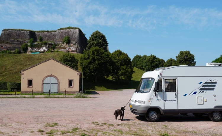 Beauty – Hymer 2-person camper, Air conditioning, Lift bed and cozy round seat. Dog can come along