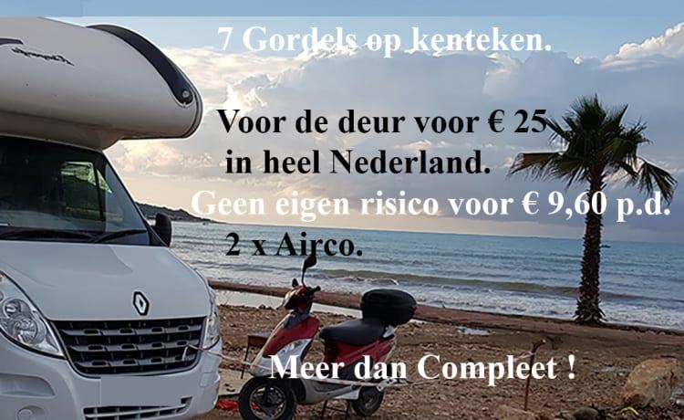 Gratis breng en ophaalservice in Nederland v.a. 2 weken.--- Eigen risico € 150 indien verzekerd.-- – 😎 Rimor 2016 autom. 7 pers. 4 v/d 8 vaste bedden. 150 pk & rijb. b.