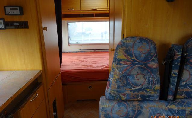 Onze hut – Leuke ruime/complete 4-persoons alkoof camper met sat tv