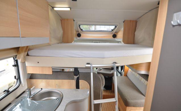 Comfort enkele bedden (15) – Ruime, luxe en jonge 4-persoons camper met enkele bedden en een hefbed