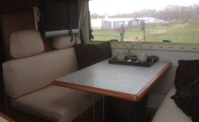 Spacious Hymer with fixed bed.