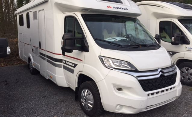 Spacious semi-integrated type Adria Matrix Axess M670 SL with twin beds