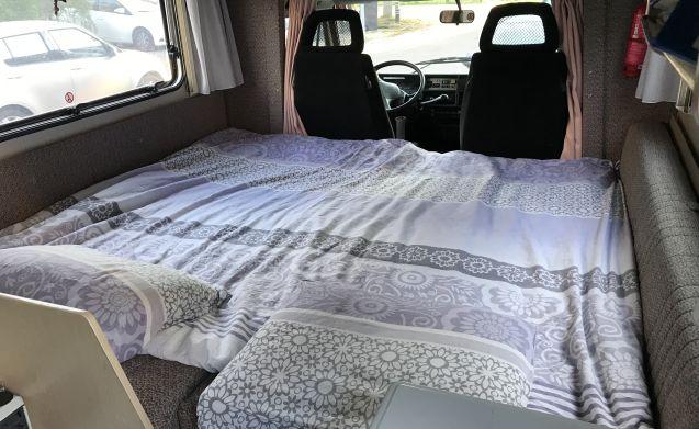 Fijne camper voor 4 personen die in een parkeervak past