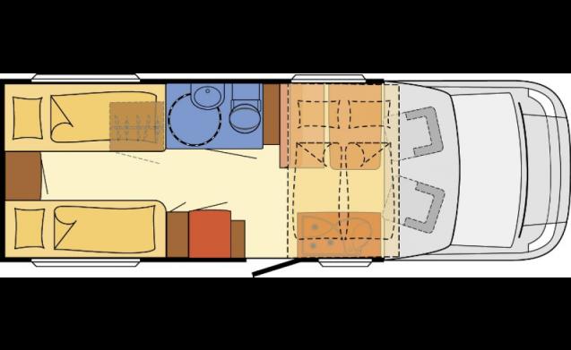 Luxe Semi-integraal Dethleffs 4-pers.- 2x enkelbed achterin+2 pers hefbed