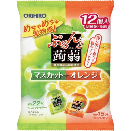 ぷるんと蒟蒻ゼリー パウチ マスカット+オレンジ 240g(20g×12個)
