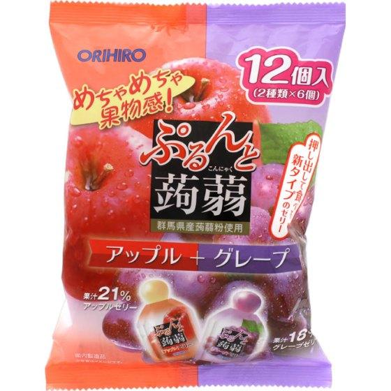 ぷるんと蒟蒻ゼリー パウチ アップル+グレープ 240g(20g×12個)