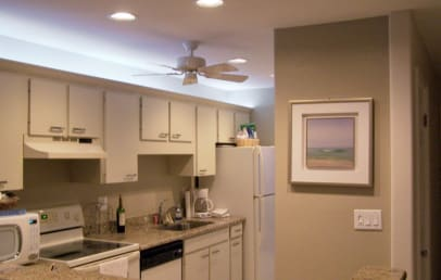 Kitchen at night - fully equipped and very well lighted