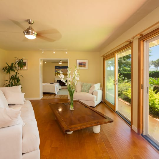 Living room with open view to Maui Golf Course