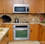 New appliances, granite counters, and bamboo cabinets make cooking fun.