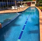 65 foot lap pool, with wading pool for children and hot tub