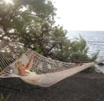 Darla enjoying the hammock and the view!