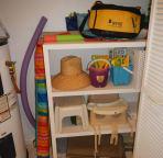 Storage closet with useful supplies.
